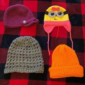 Variety of hand knit hats